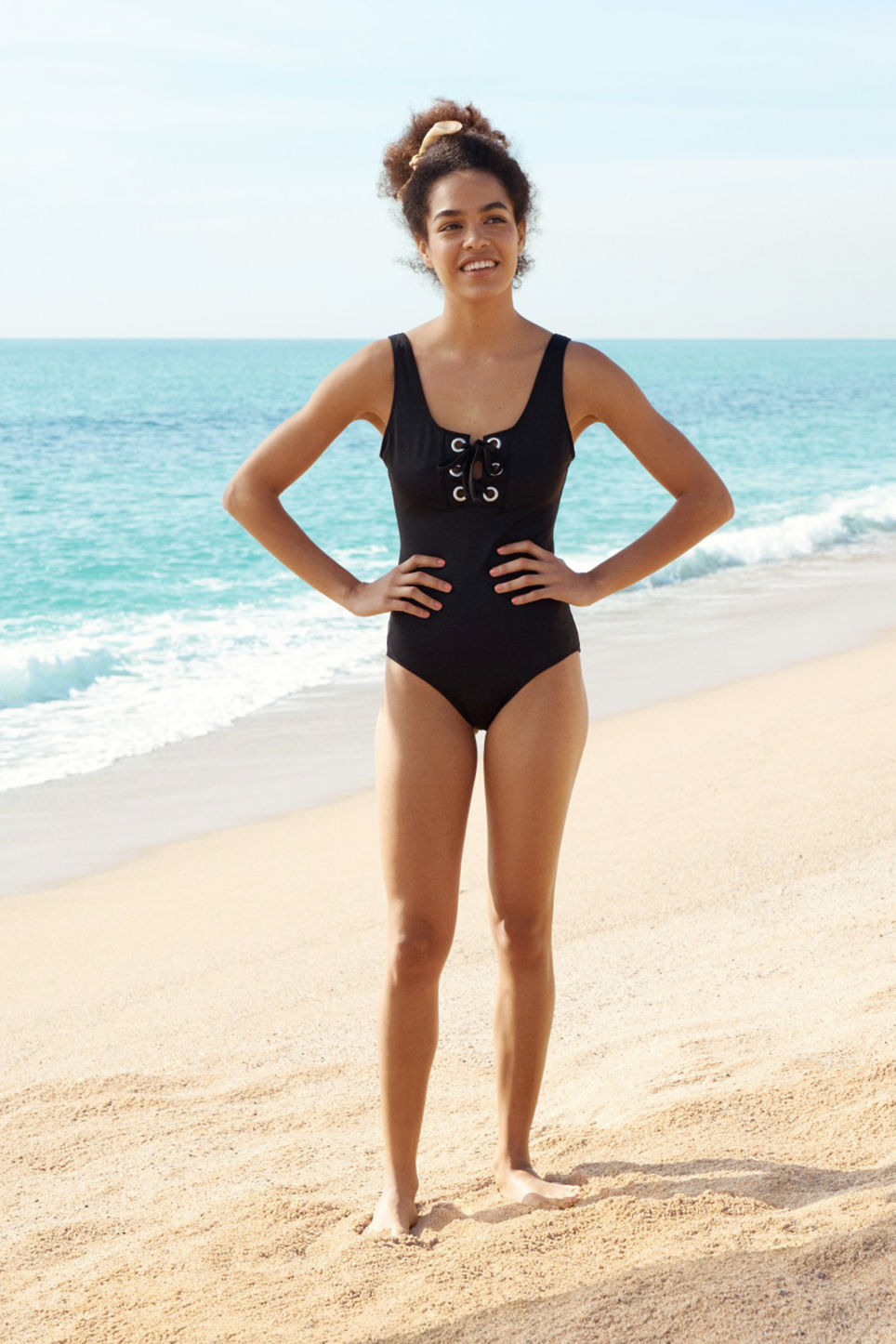 Detailed image of Monki drawstring swimsuit in black