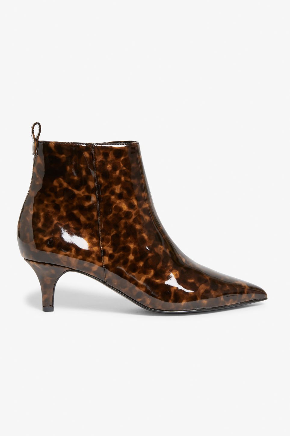 Detailed image of Monki kitten heel boots in brown