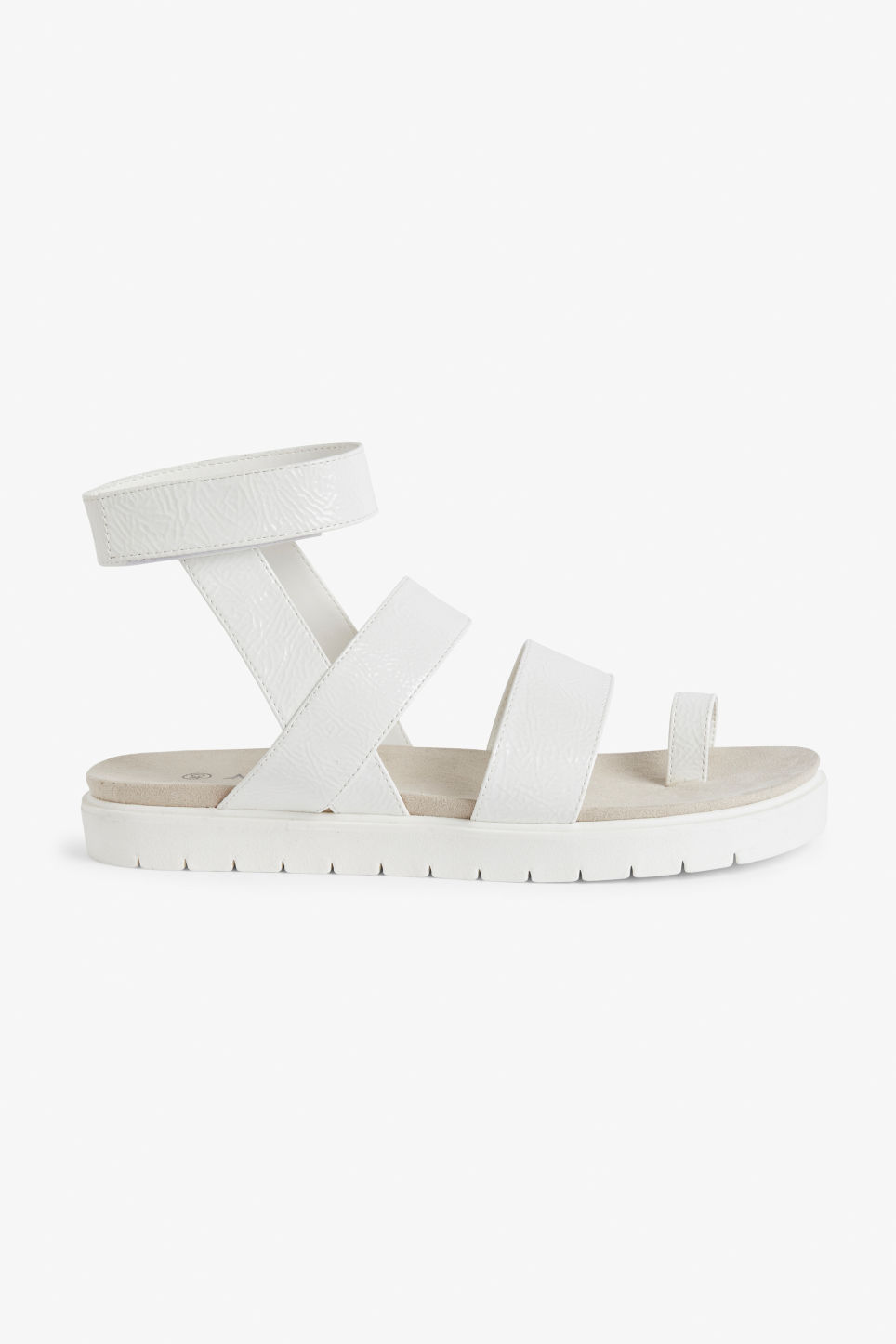 Detailed image of Monki faux leather sandals in white