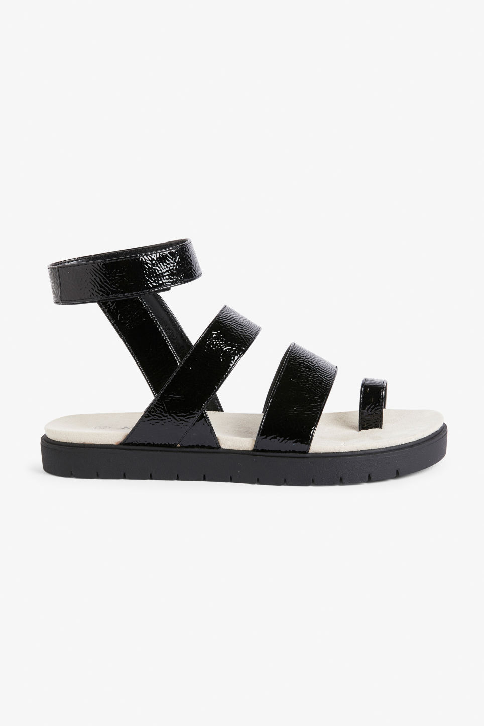 Detailed image of Monki faux leather sandals in black