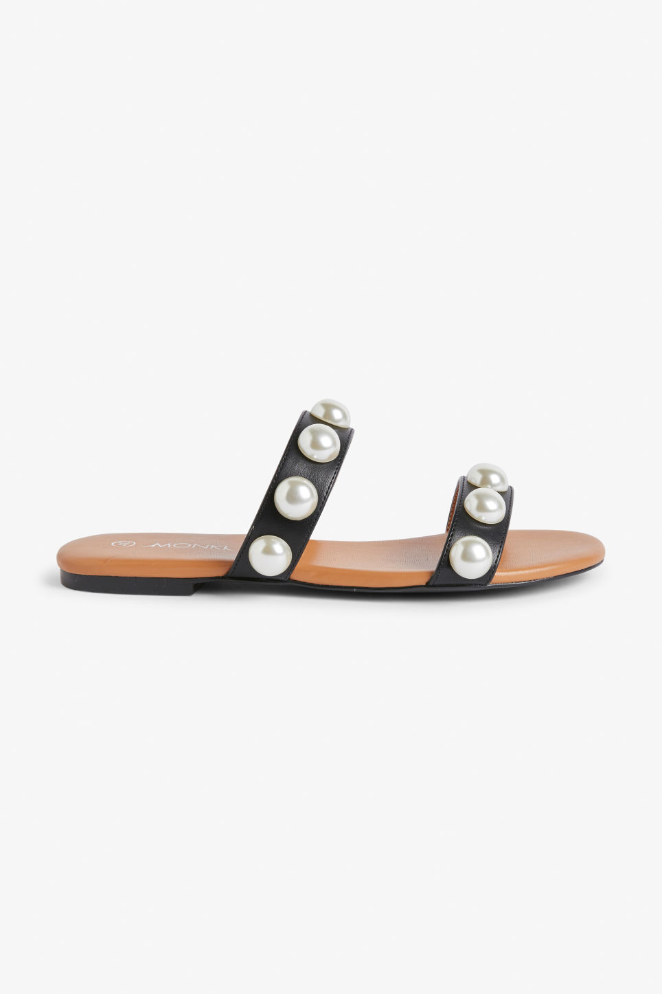 Detailed image of Monki imitation pearl sandals in black