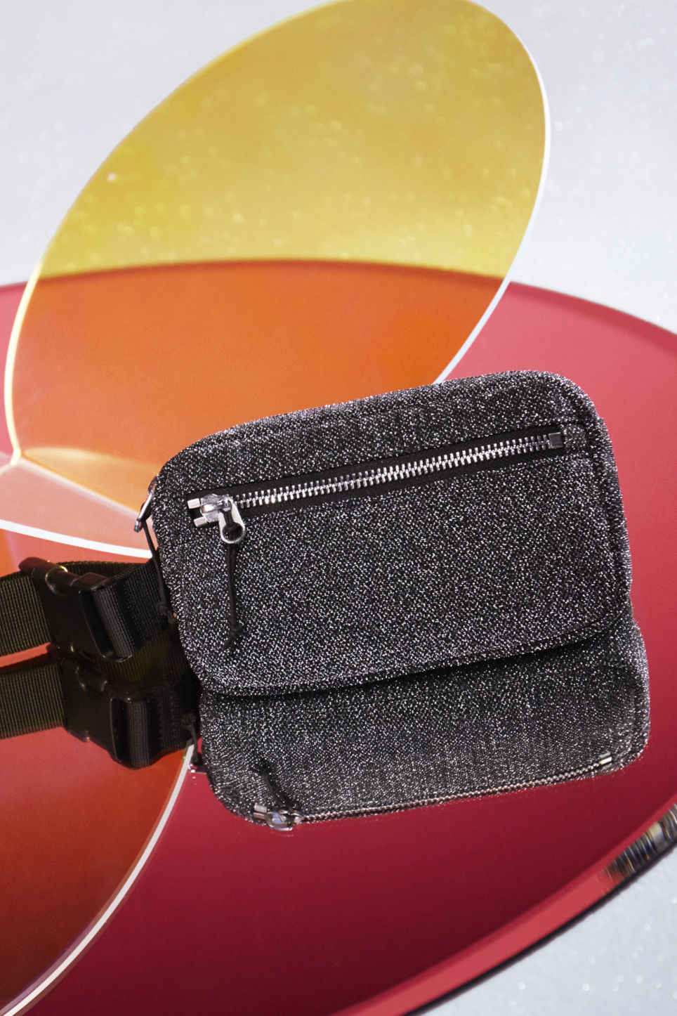 Detailed image of Monki fanny pack in silver