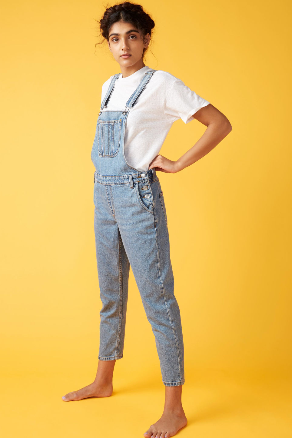 Detailed image of Monki denim dungarees in blue