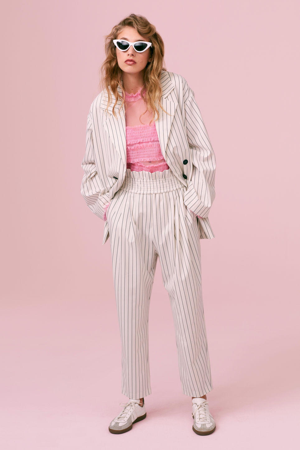 Detailed image of Monki double-breasted blazer in white