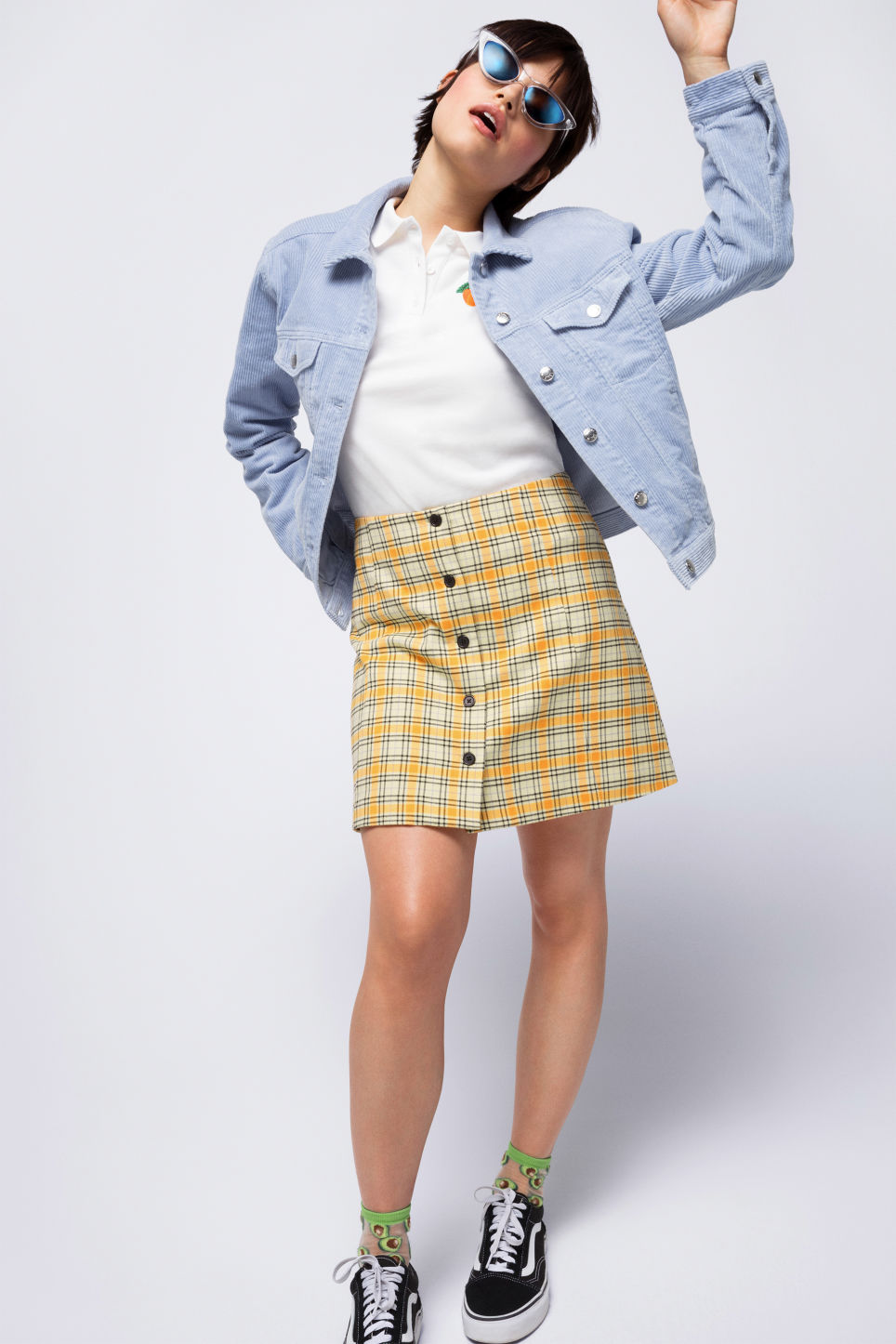 Detailed image of Monki a-line mini skirt  in yellow