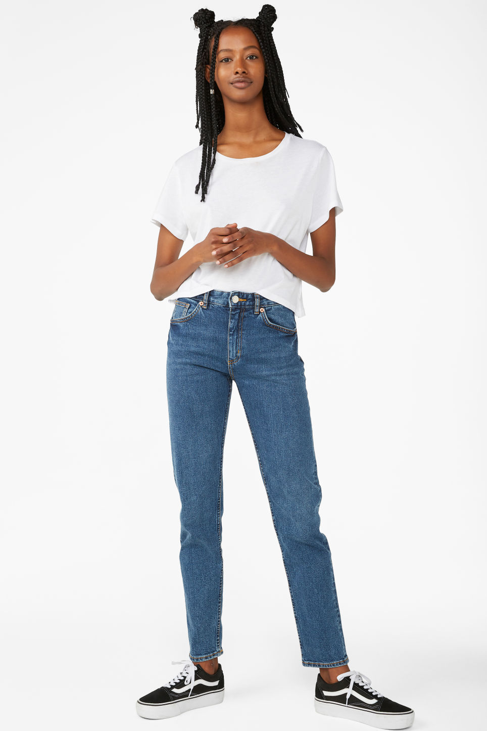 Detailed image of Monki moop classic blue jeans in blue