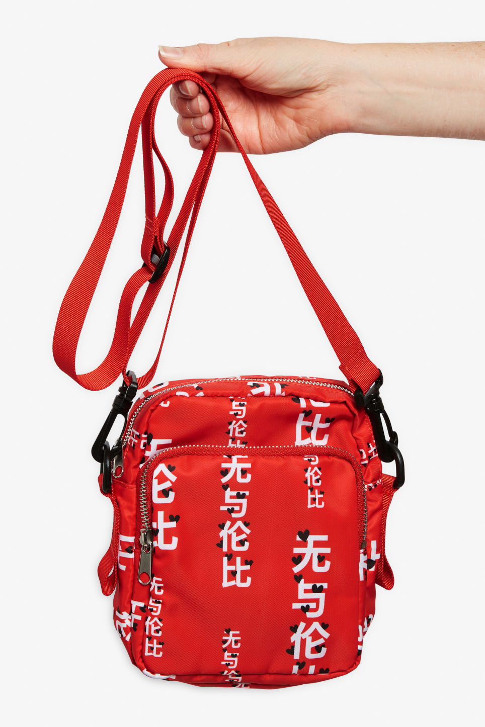 Detailed image of Monki utility style bag in red