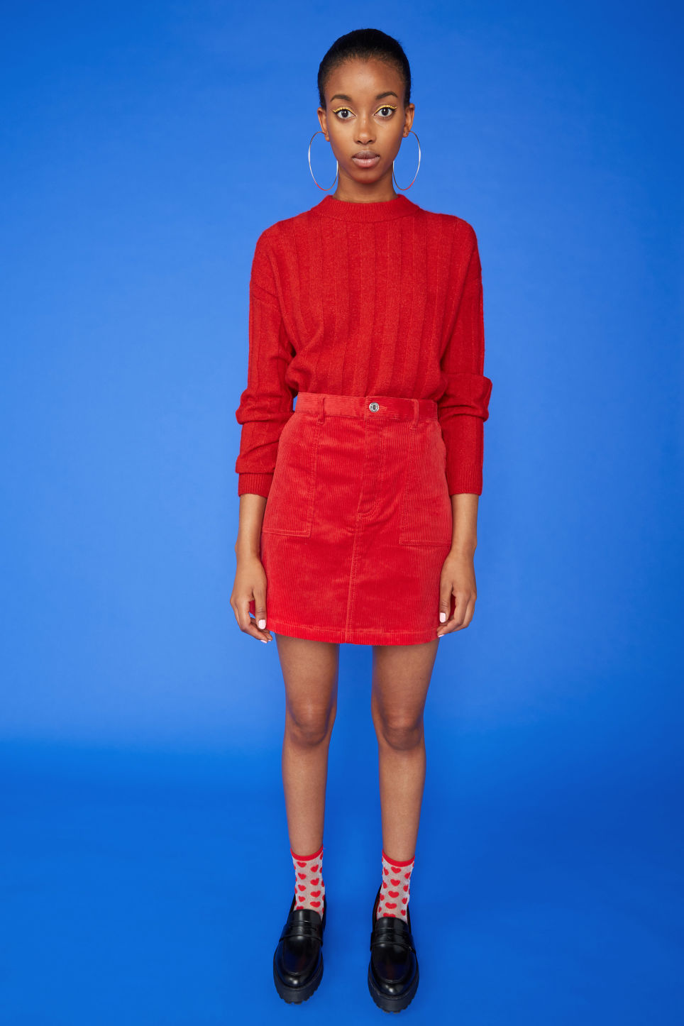 Detailed image of Monki a-line cord mini skirt in red