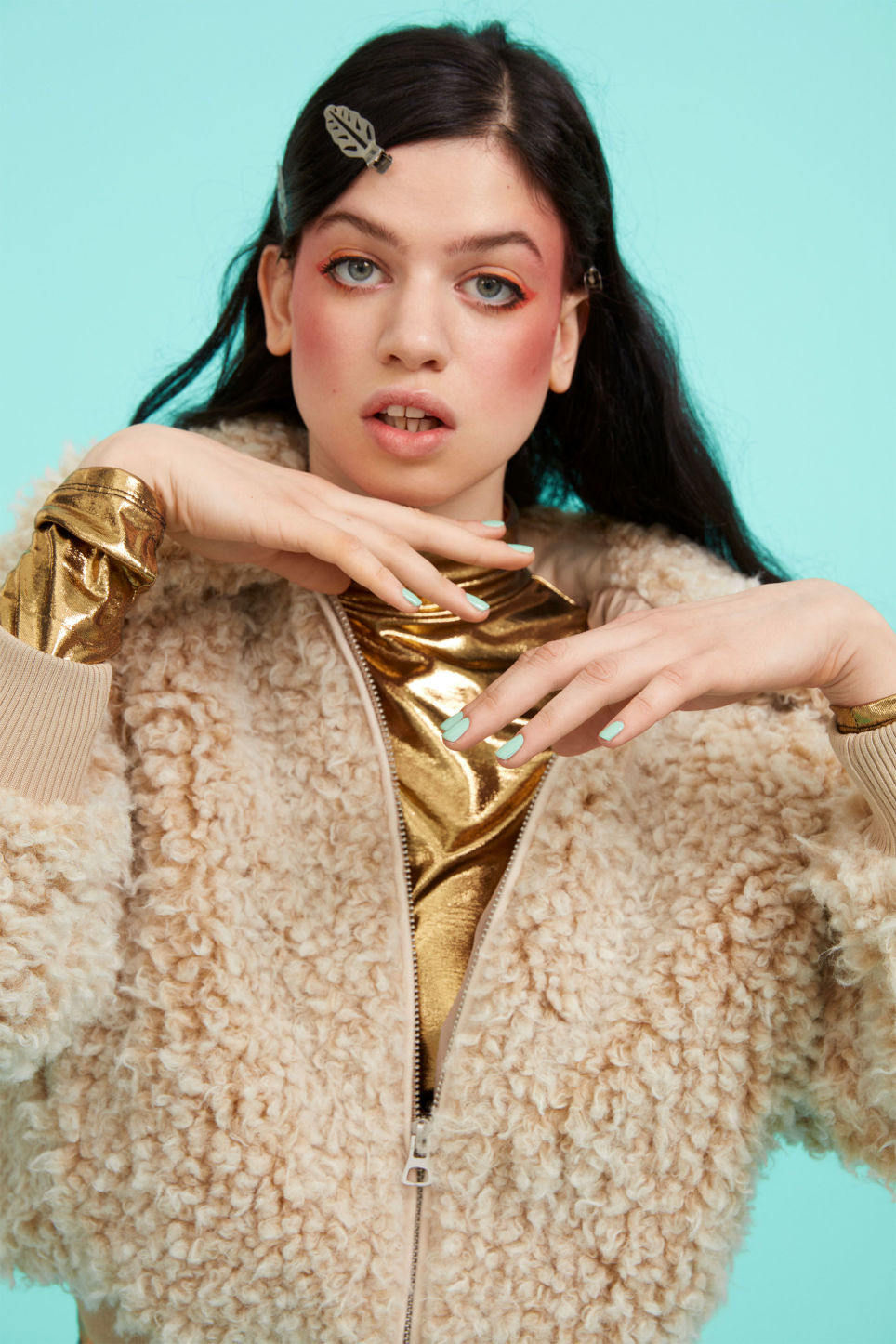 Detailed image of Monki faux fur jacket in beige