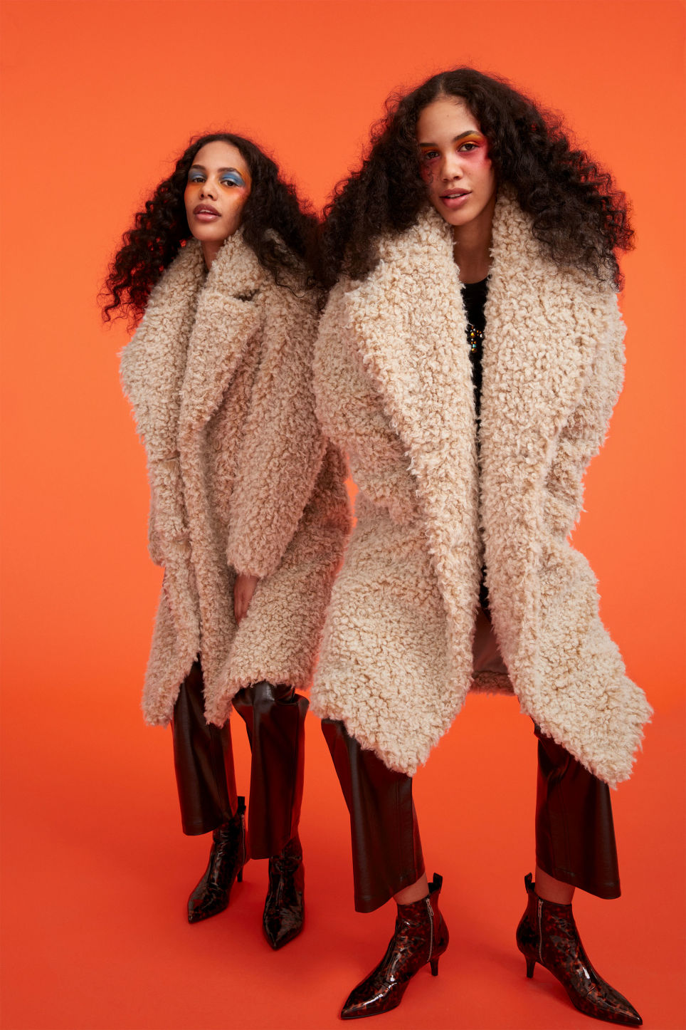 Detailed image of Monki faux shearling coat in beige