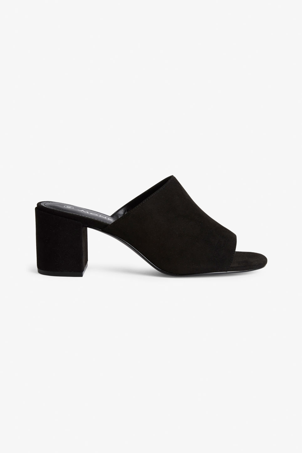 Detailed image of Monki faux suede mule sandals in black