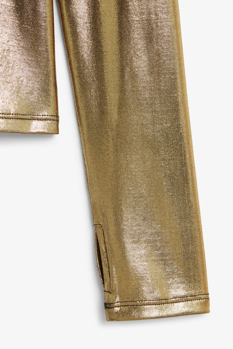 Detailed image of Monki shiny turtleneck  in gold