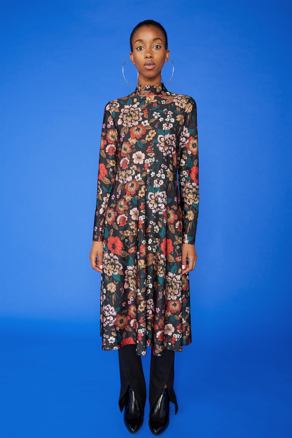 Detailed image of Monki raised neck dress in black