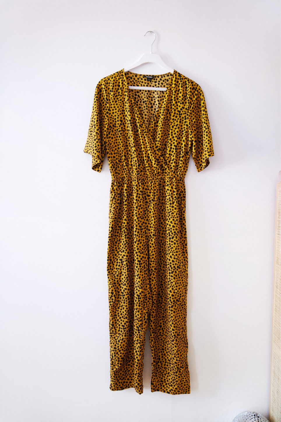 Detailed image of Monki lightweight jumpsuit  in yellow