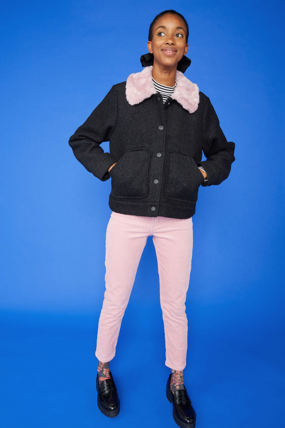 Detailed image of Monki slim fit corduroy trousers in pink