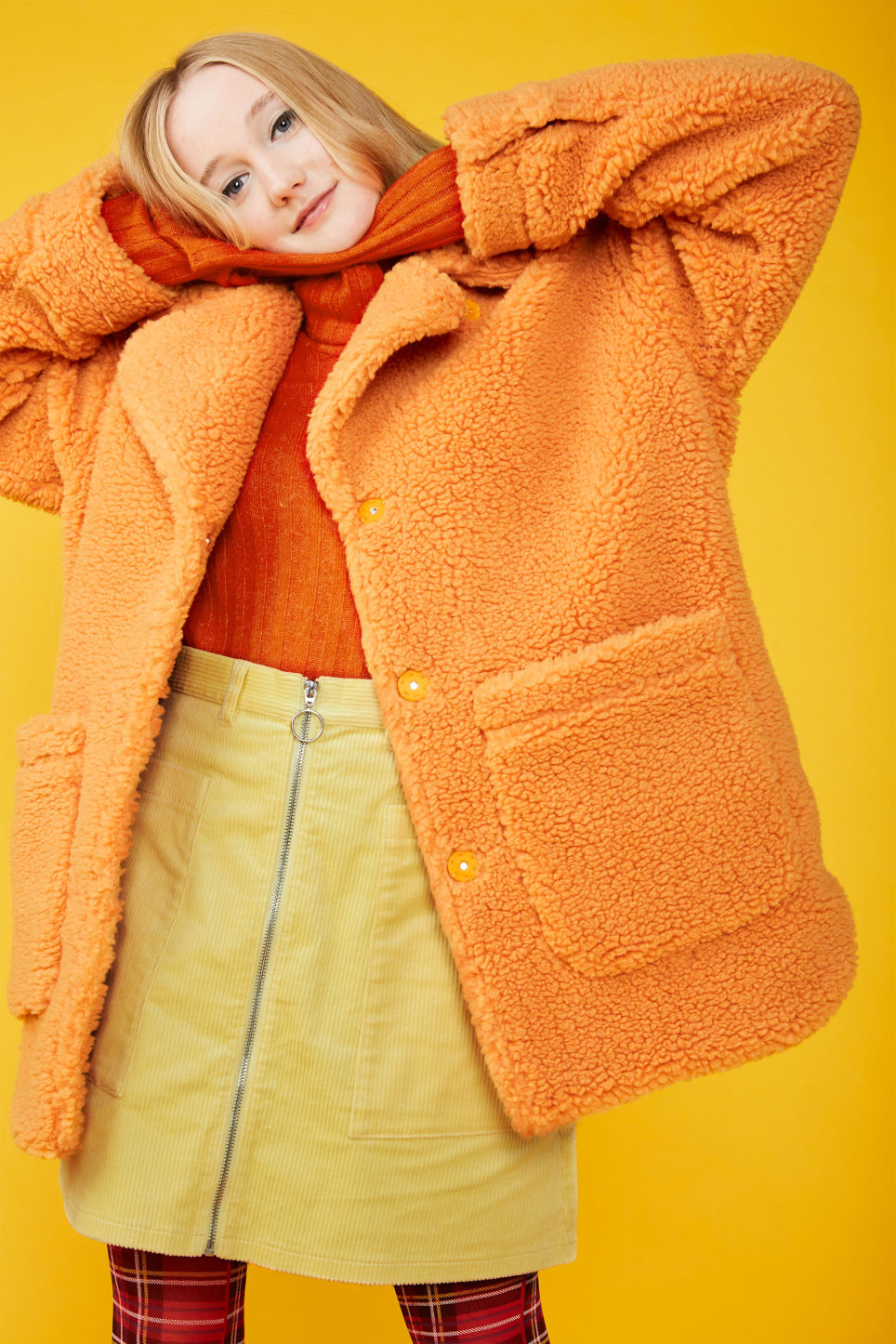 Detailed image of Monki oversized faux shearling coat in orange