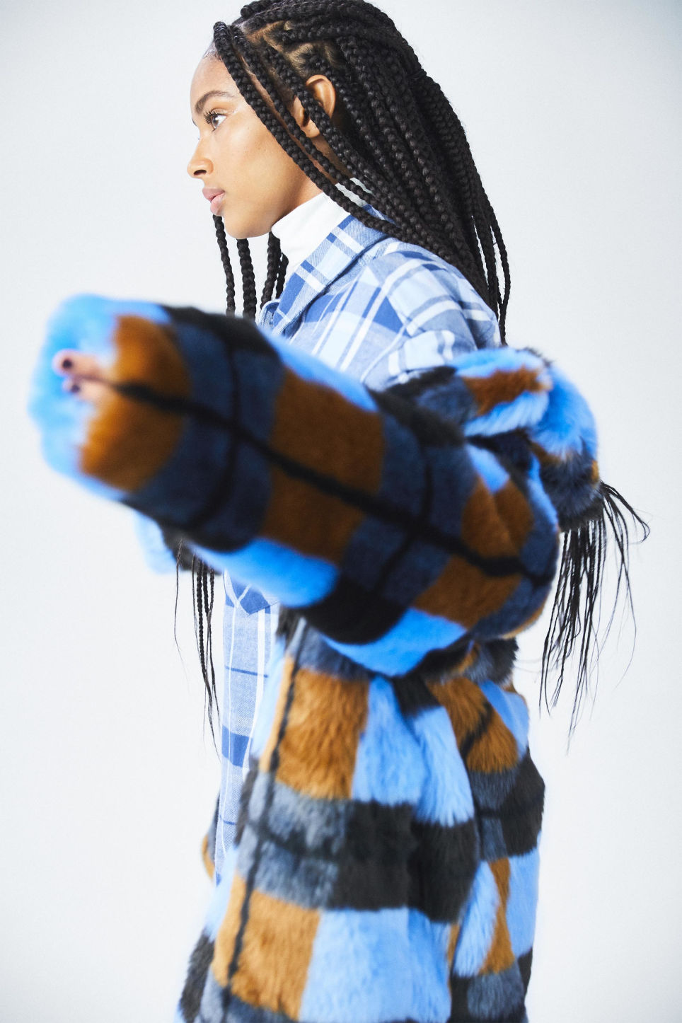 Detailed image of Monki super-soft fluffy coat in blue