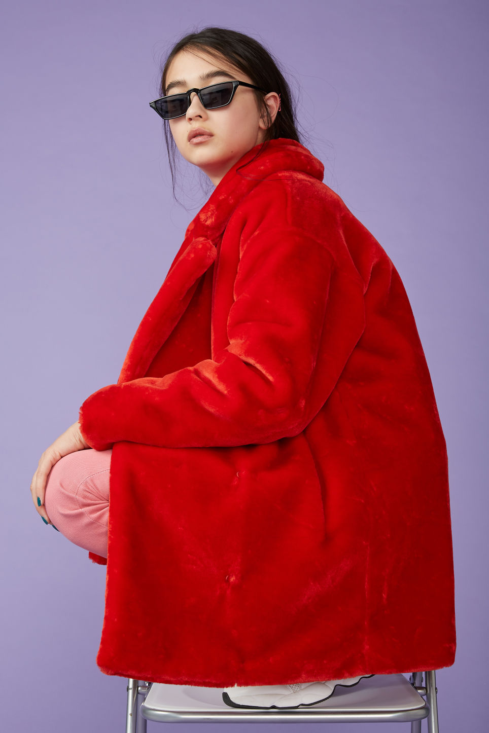 Detailed image of Monki super-soft fluffy coat in red