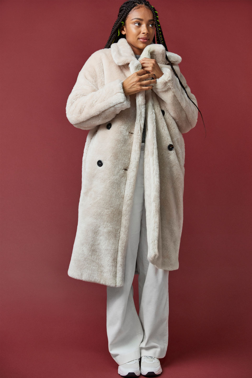 Detailed image of Monki long faux fur coat in beige