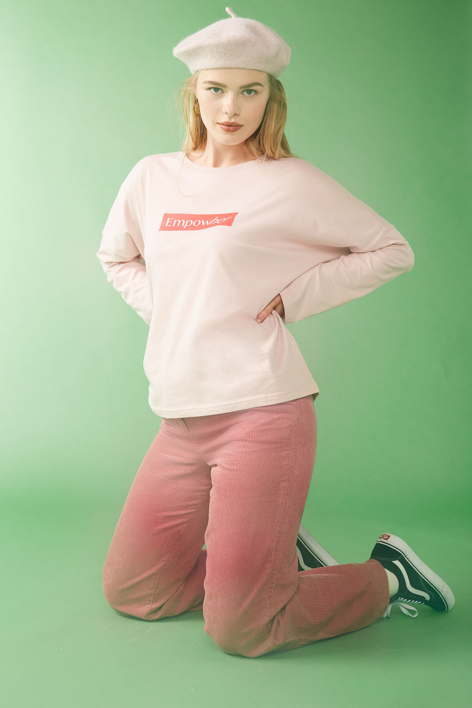 Detailed image of Monki corduroy trousers in pink