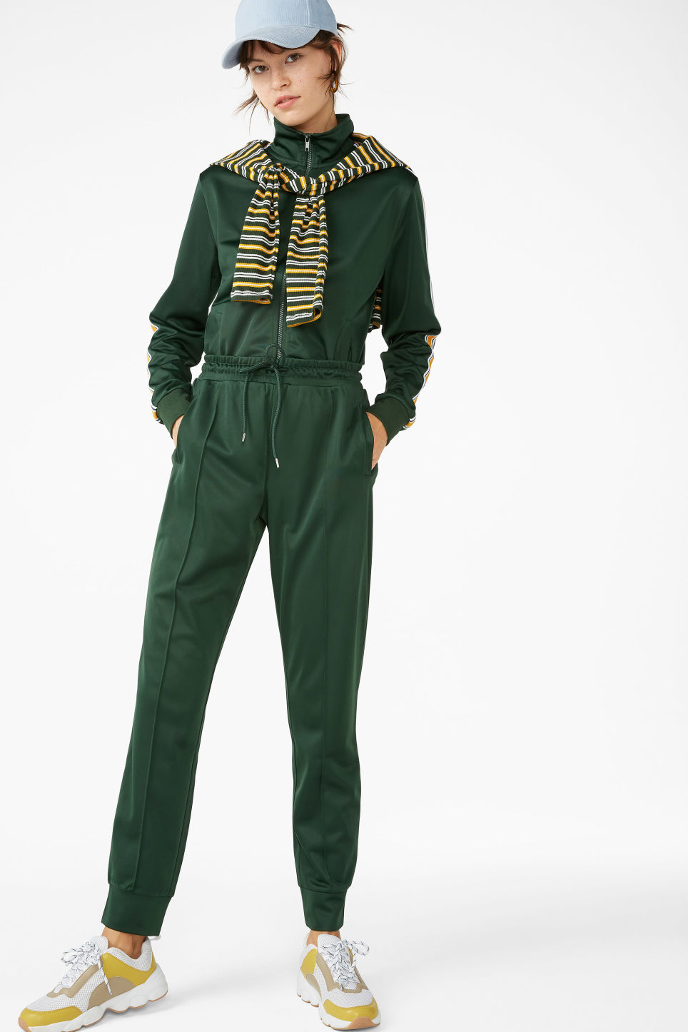 Detailed image of Monki zip tracksuit jacket in green