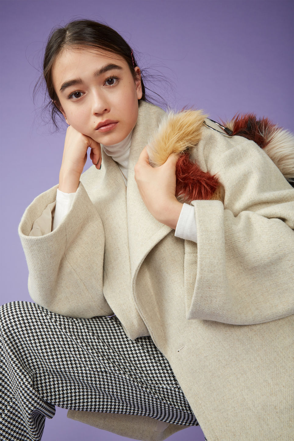 Detailed image of Monki double breasted coat in beige