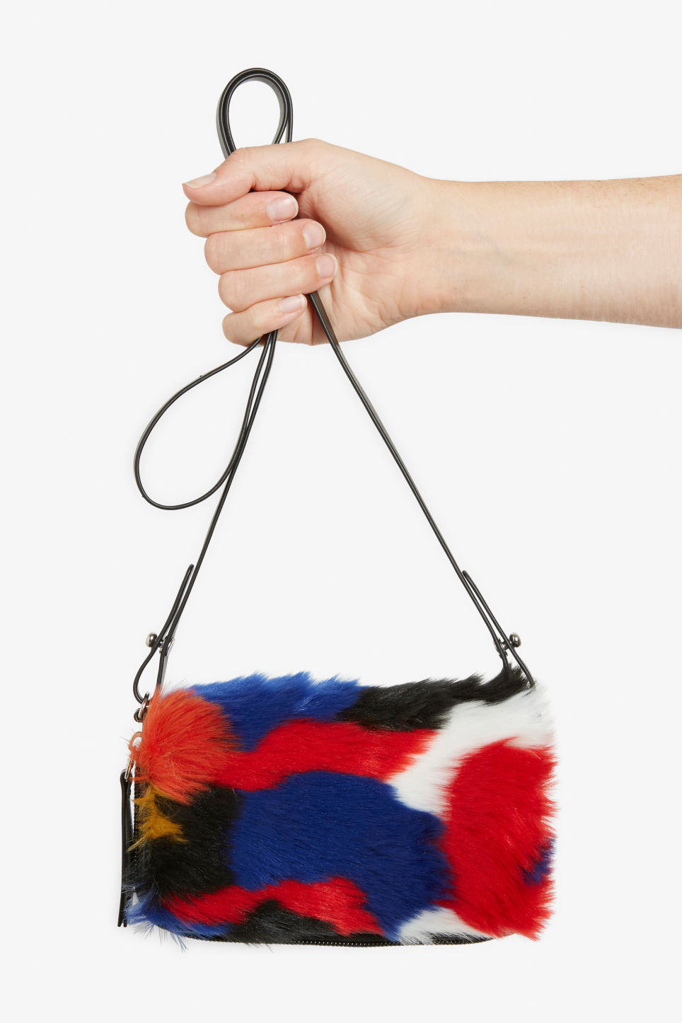 Detailed image of Monki faux fur wallet bag in black