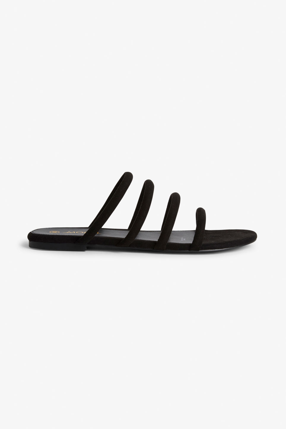 Faux suede slip in sandals Black magic Shoes Monki