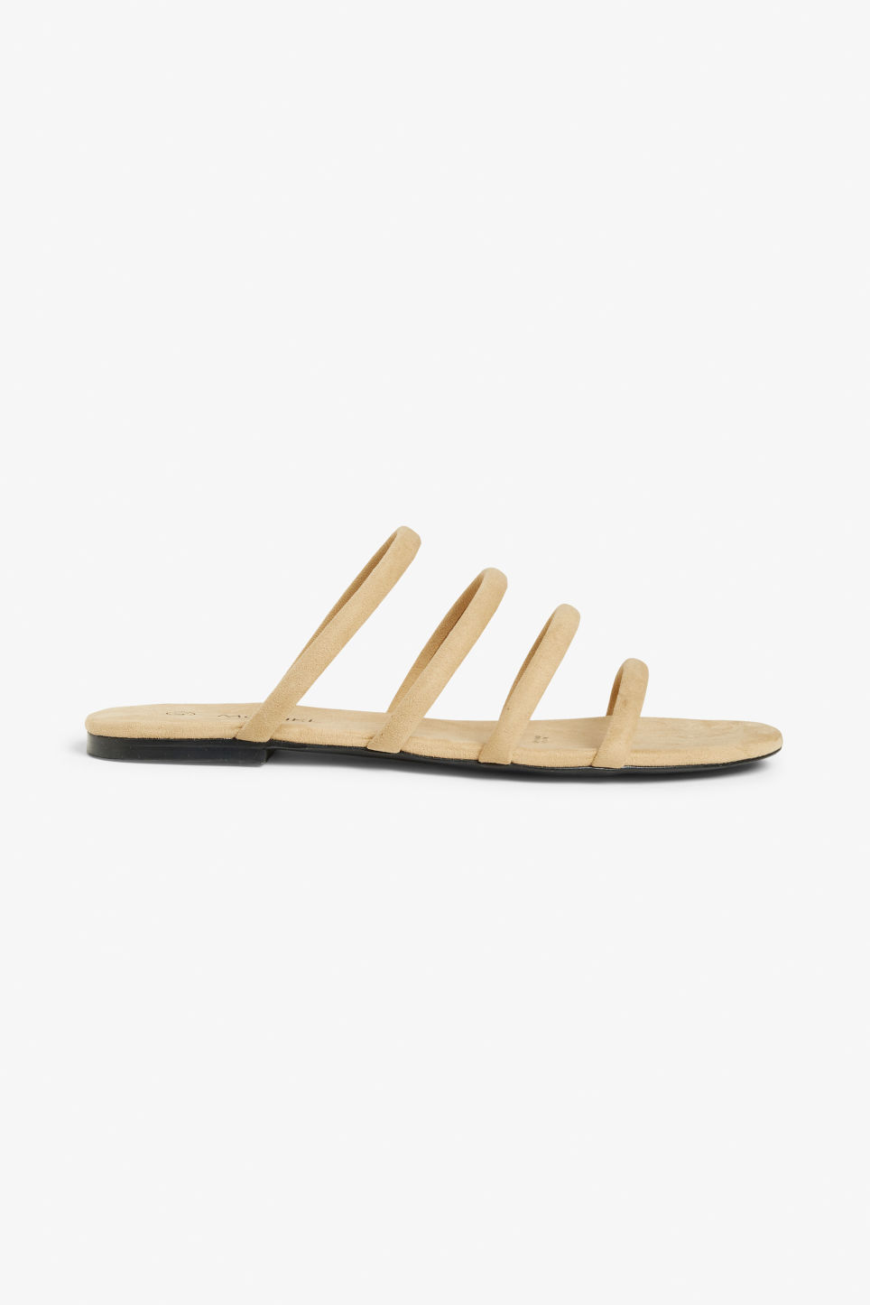 Detailed image of Monki faux suede slip-on sandals in beige