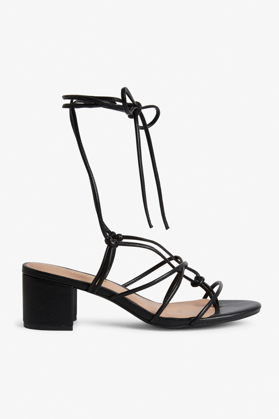 Detailed image of Monki heeled ankle-wrap sandal in black