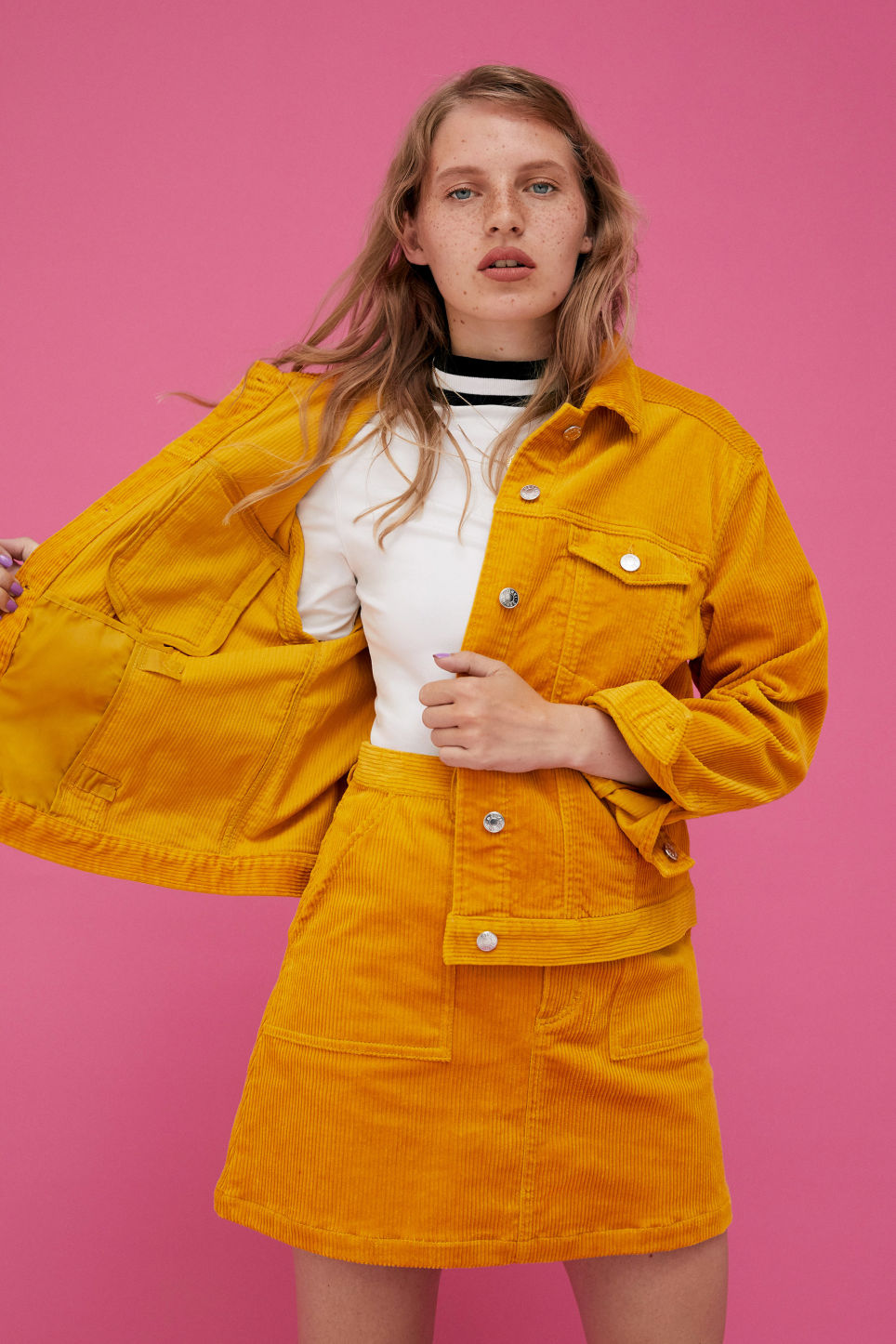 Detailed image of Monki short jacket in yellow
