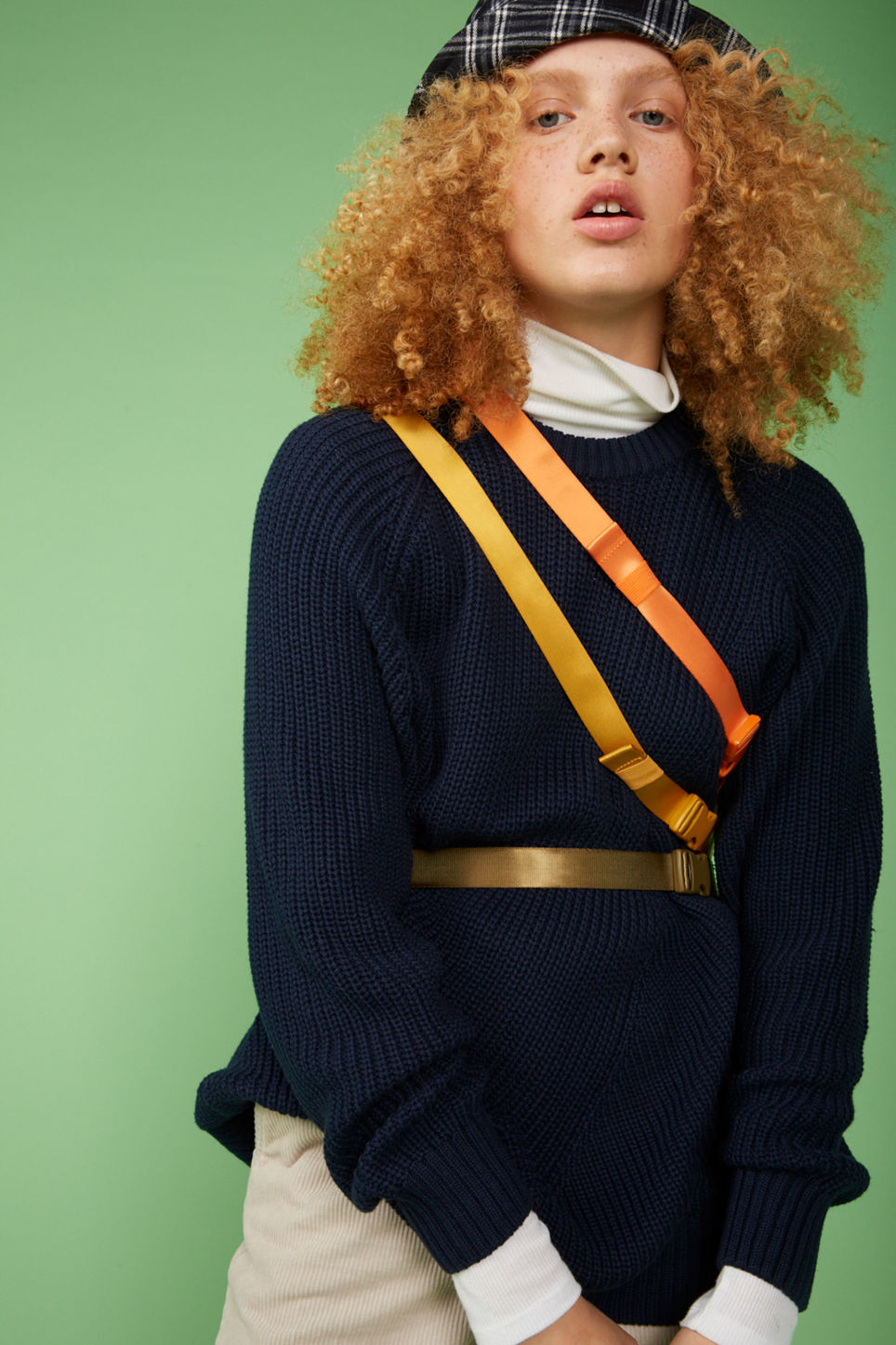 Detailed image of Monki thick knit sweater in blue