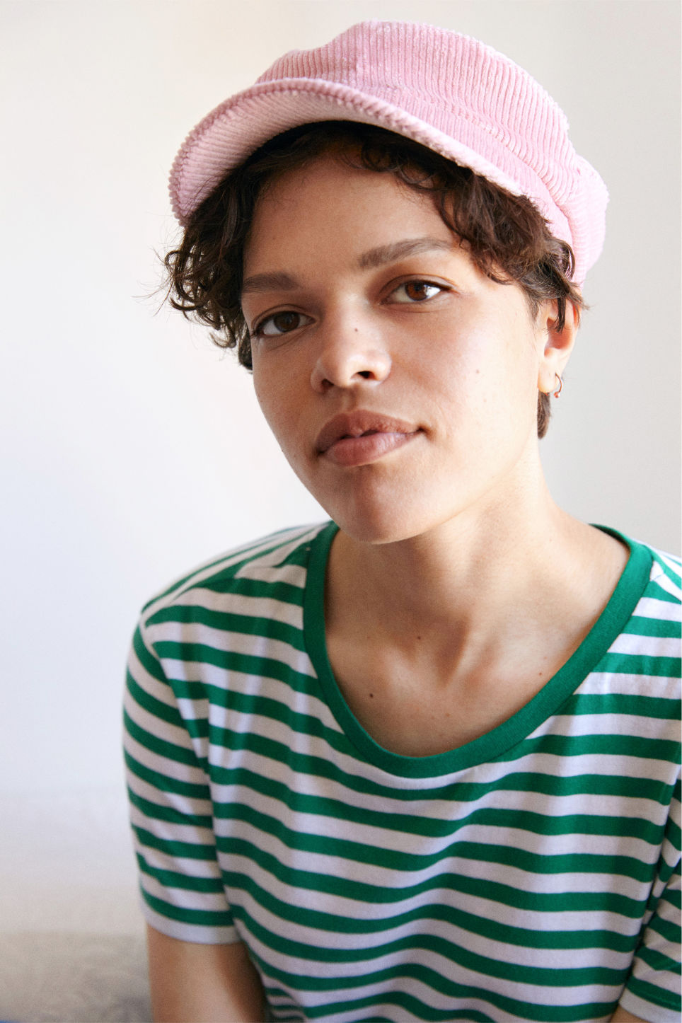 Detailed image of Monki baker boy hat in pink