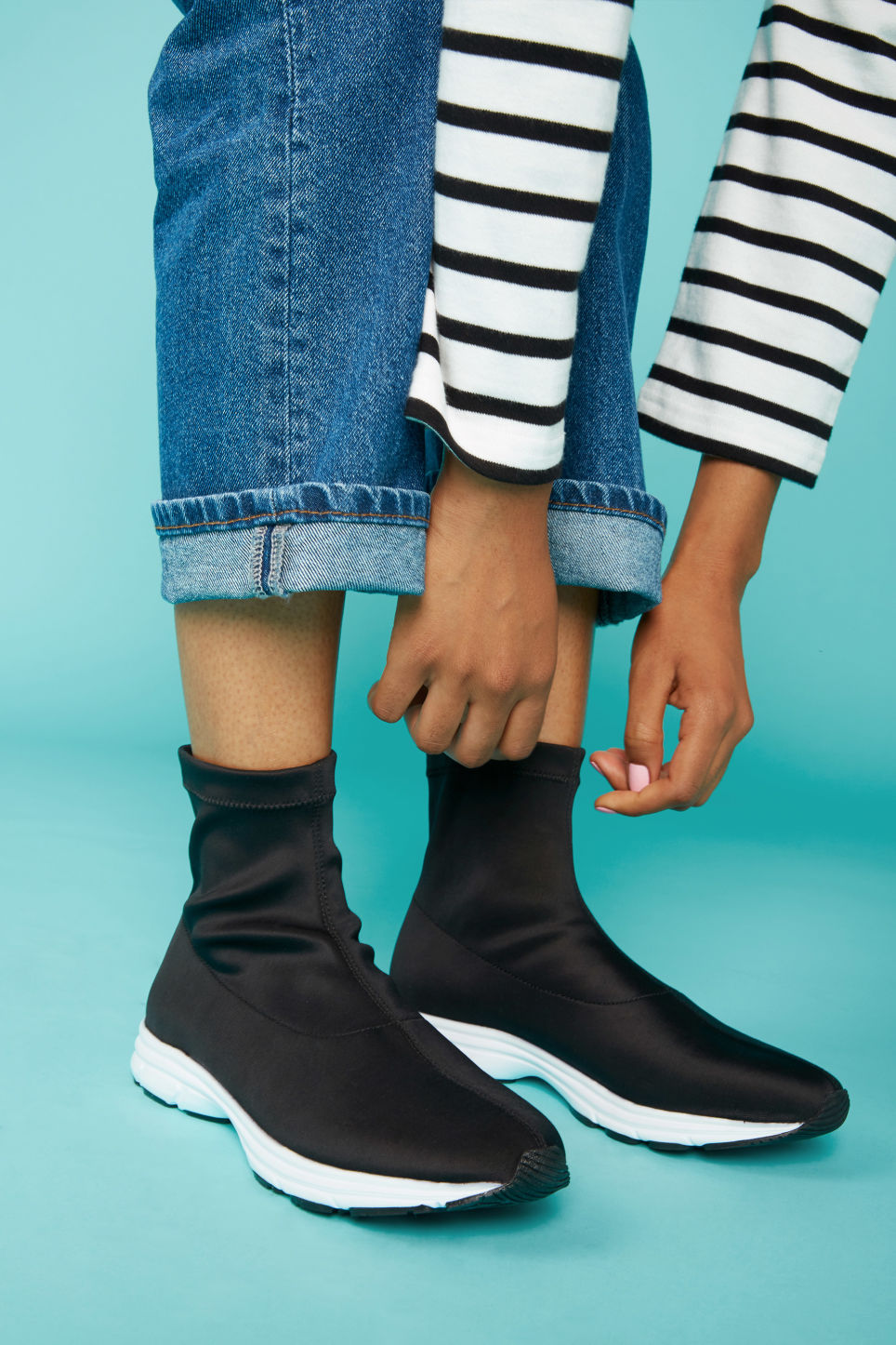 Detailed image of Monki pull-on scuba sock sneakers in black