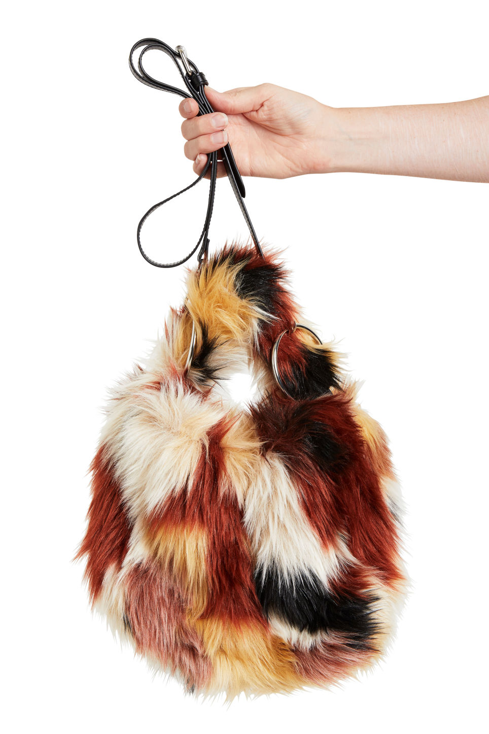 Detailed image of Monki fluffy cross shoulder bag in black