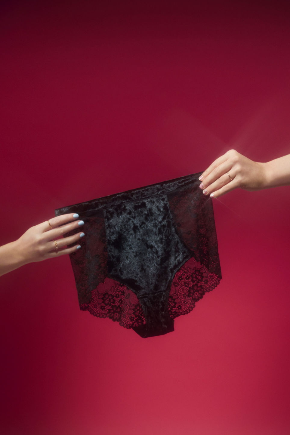 Detailed image of Monki velvet and lace high waist briefs in black