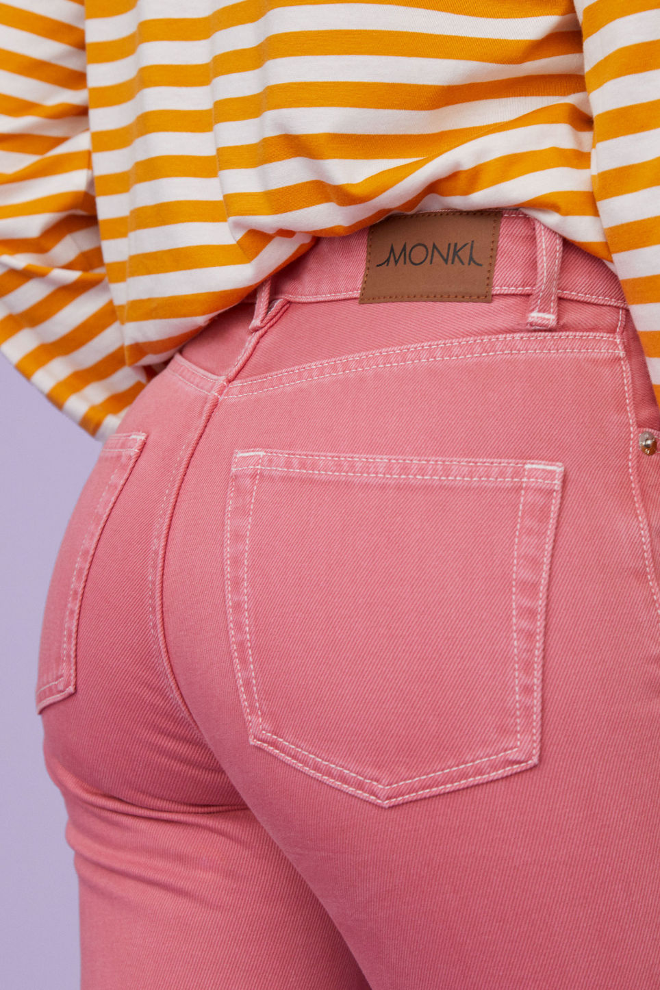 Detailed image of Monki kimomo jeans in pink
