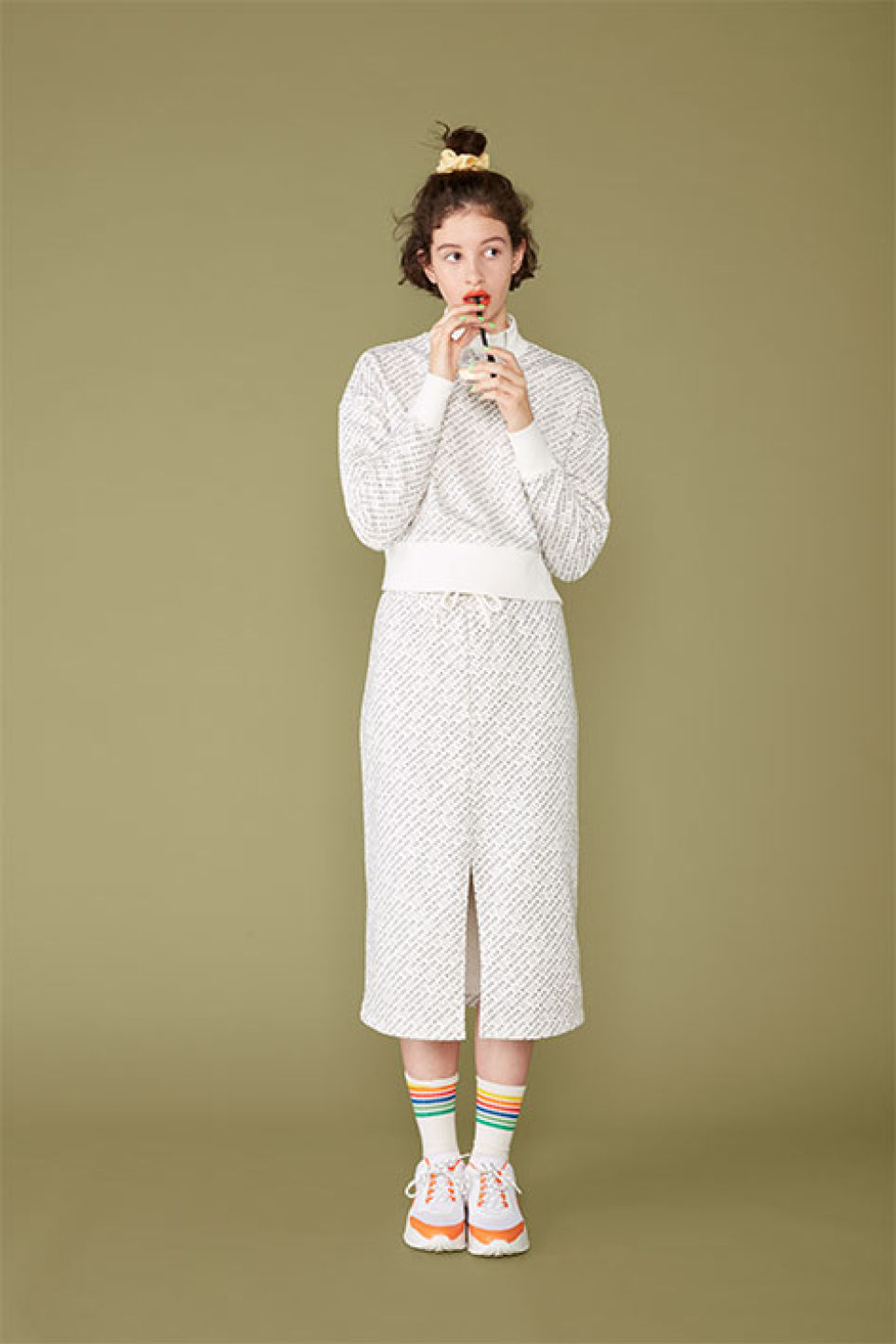 Detailed image of Monki high-neck sweater in white