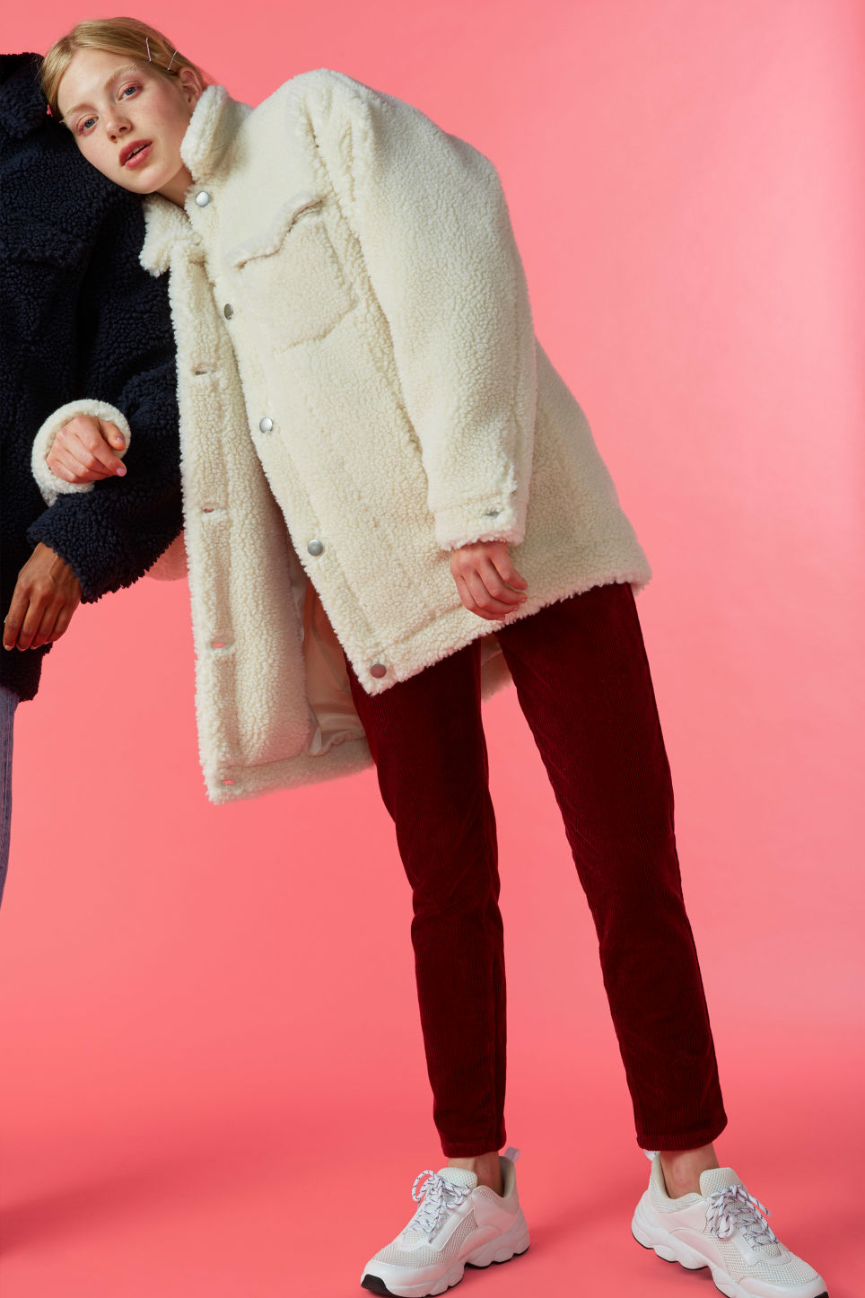 Detailed image of Monki faux shearling utility jacket in white