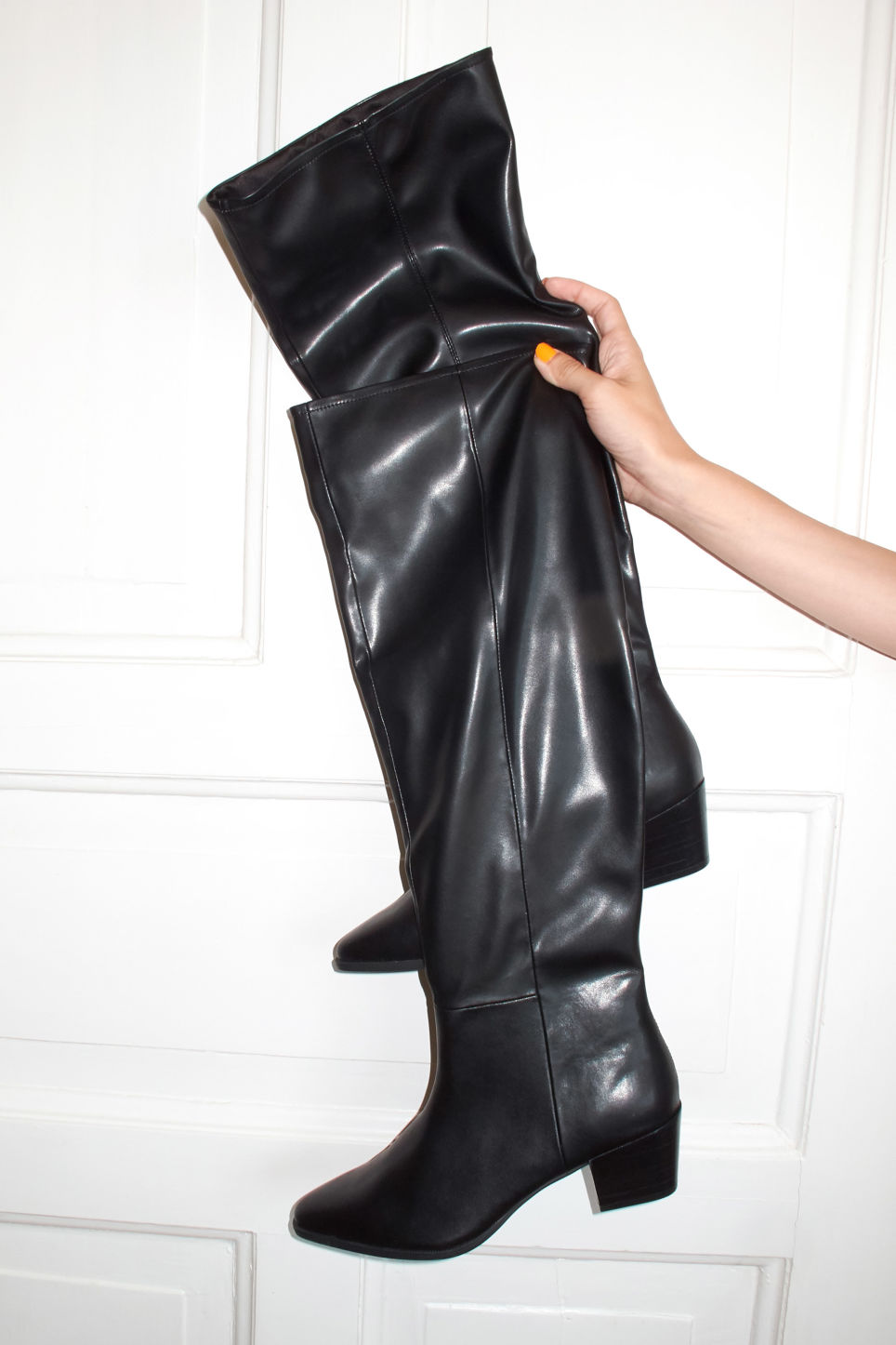 Detailed image of Monki over the knee boots in black