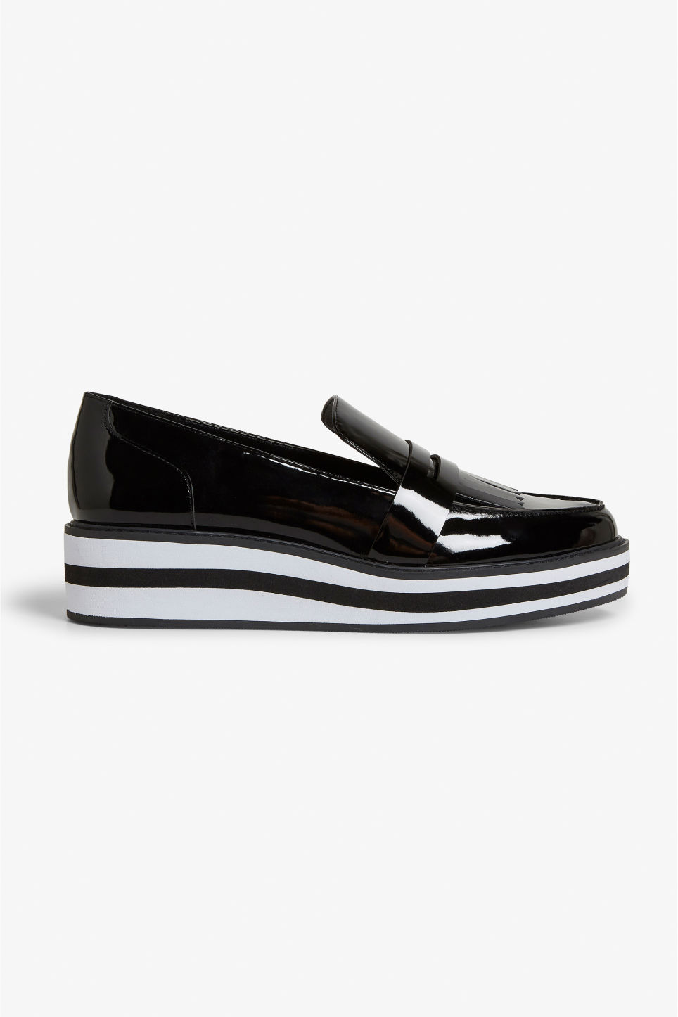 Detailed image of Monki striped platform loafers in black