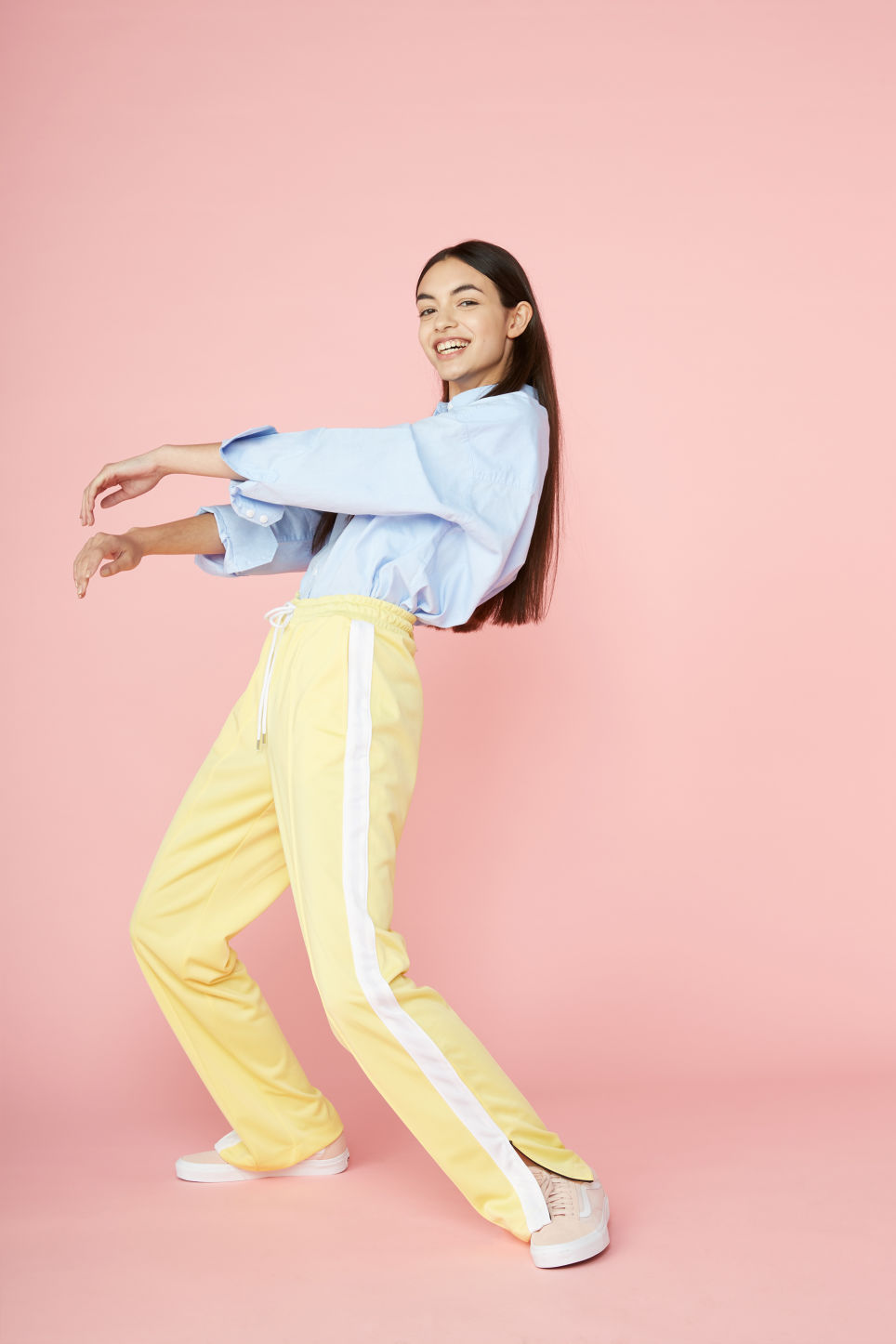 Detailed image of Monki tailored track pants in yellow