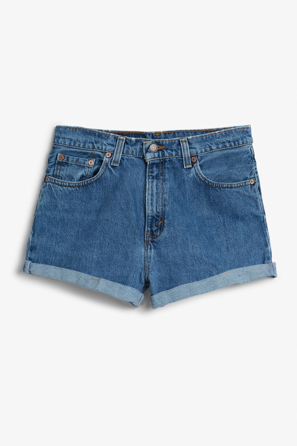 Detailed image of Monki levis shorts in blue