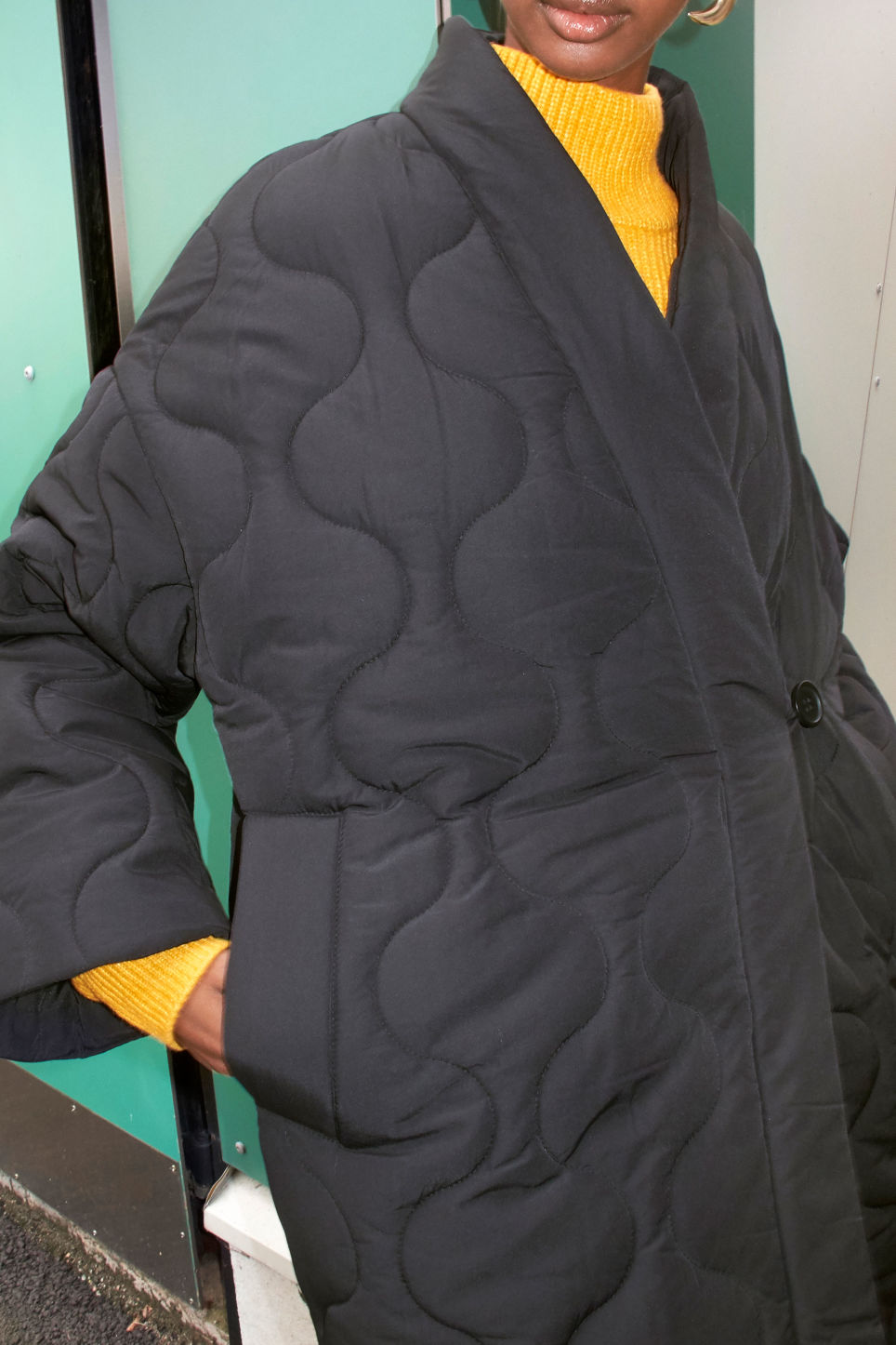 Detailed image of Monki kimono style coat in black
