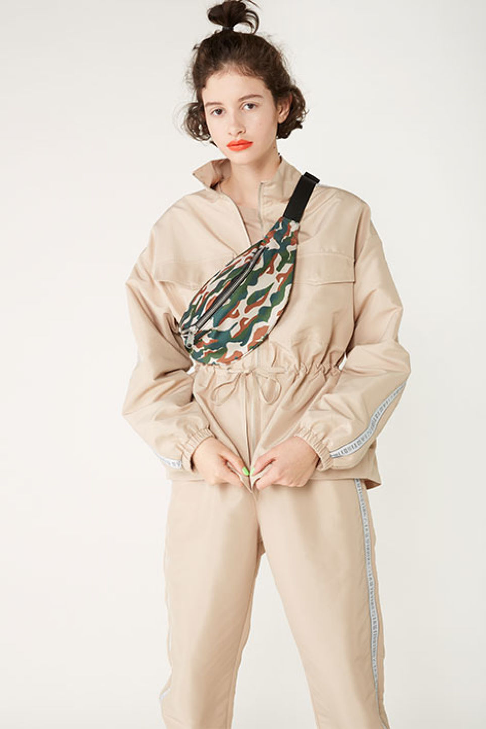 Detailed image of Monki tracksuit jacket in beige