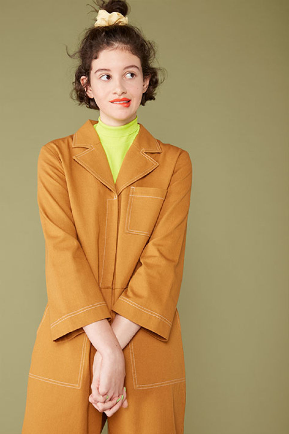 Detailed image of Monki utility boiler suit in yellow