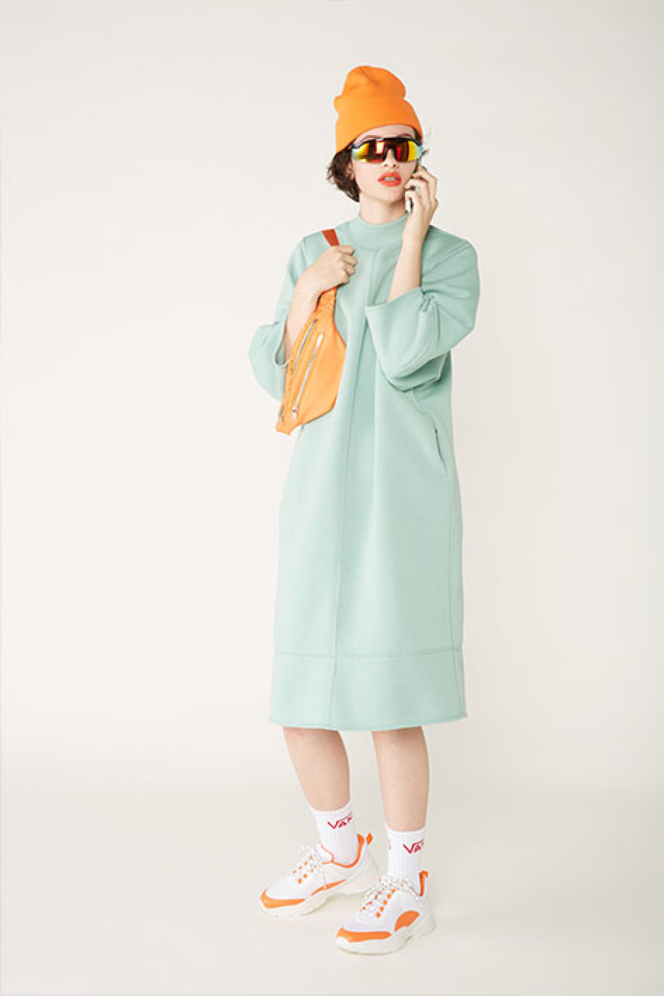Detailed image of Monki sweater dress in green