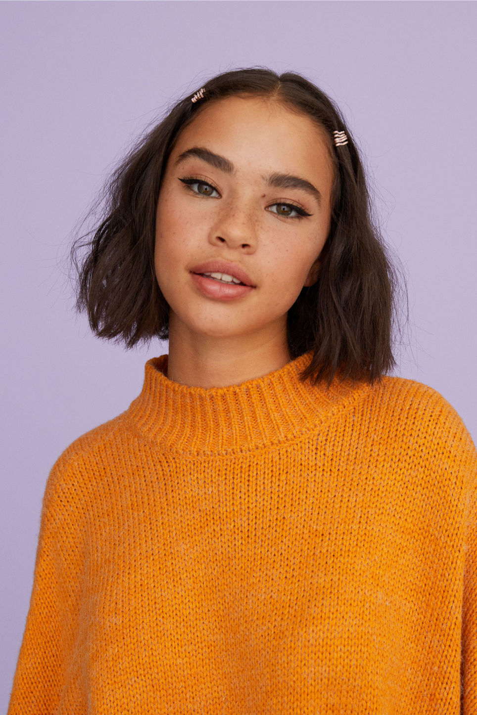 Detailed image of Monki knitted dress in yellow