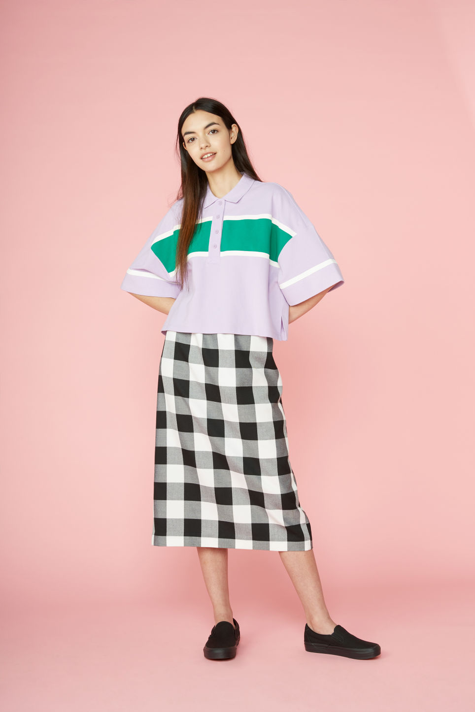 Detailed image of Monki checkered midi skirt in white