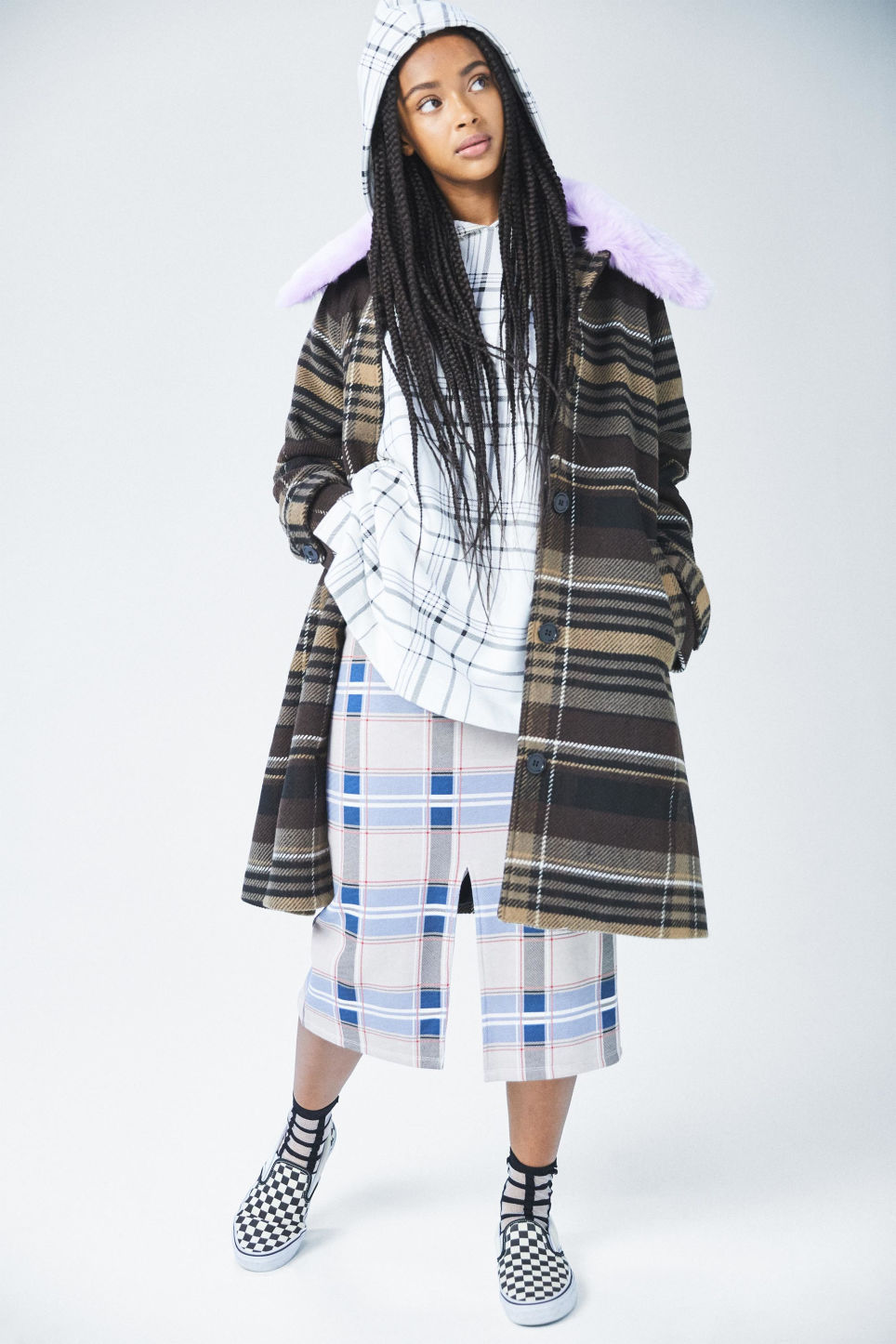 Detailed image of Monki checked drawstring skirt in beige